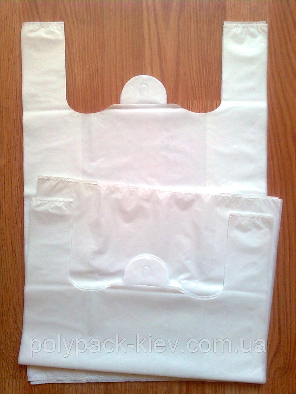 Плотные белые пакеты 38*57 см/45 мкм без печати, белый пакет майка без логотипа купить от производителя