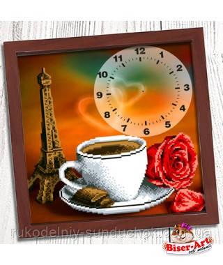 """Годинник для вишивки бісером, Бісер-Арт """"Ранкова кава в Парижі"""" (009)"""