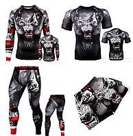 Компрессионный комплект Venum Wolf волк спортивный костюм рашгард лосины футболка шорты из двух единиц