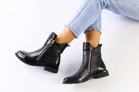 Женские черные кожа наплак ботинки