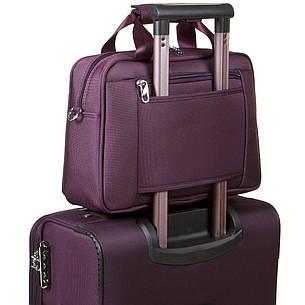 Універсальна дорожня сумка-бьютик BagHouse з кріпленням на ручку валізи 38х29х15 фіолетова ксГЦ868ф, фото 2