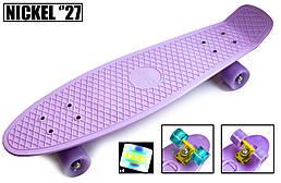 Пенни борд Penny Board Nickel Лиловый цвет. Светящиеся колеса (27 дюймов, пластик, доска 70 х 19, с