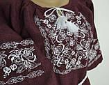 Платье  вышиванка женское Лилия размер 46 цвет марсалла, фото 6