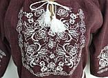 Платье  вышиванка женское Лилия размер 46 цвет марсалла, фото 7