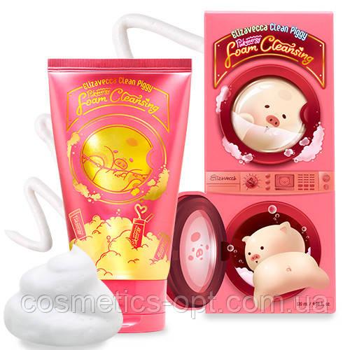 Ягодная пенка для отшелушивания ороговевшей кожи Elizavecca Clean Piggy Pink Energy Foam Cleansing, 120 ml
