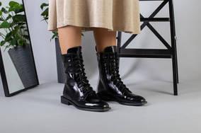 Черные ботинки деми на шнурках с замком кожа наплак