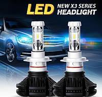 Комплект LED ламп для авто Ближний/Дальний TurboLED X3 H7, светодиодные лампы в авто, передний свет
