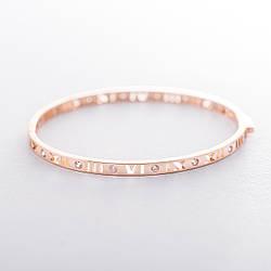 """Жорсткий золотий браслет """"Римські цифри"""" з фіанітами гб04090"""