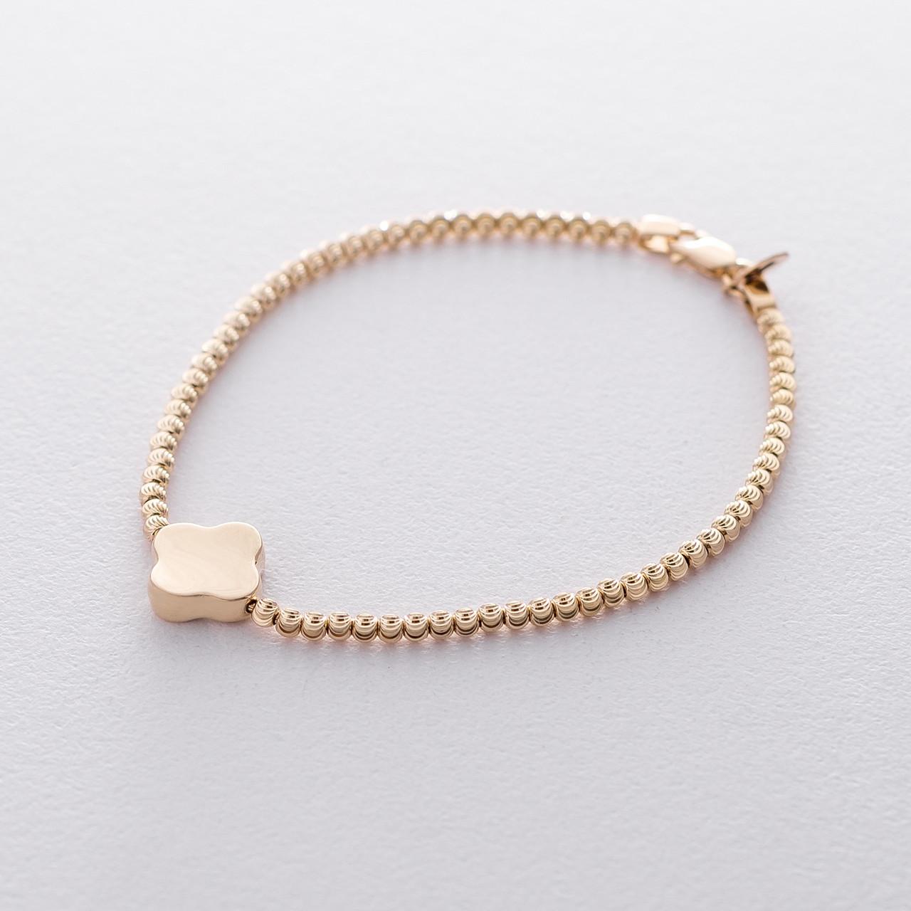 """Шариковый браслет """"Клевер"""" из желтого золота гб04168"""