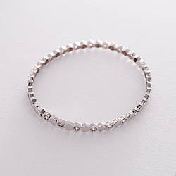 Жорсткий золотий браслет з фіанітами гб04191