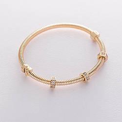 Жесткий золотой браслет с фианитами гб04193