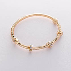 Жорсткий золотий браслет з фіанітами гб04193