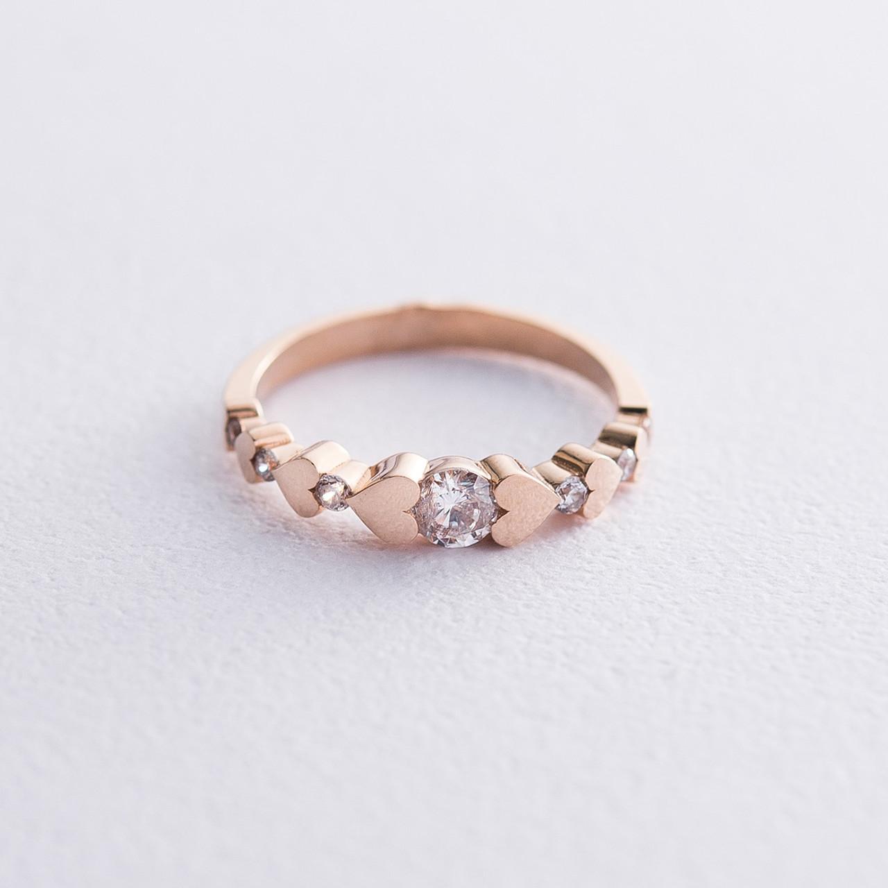 """Золотое кольцо """"Сердечки"""" с фианитами гк06385"""