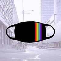 Многоразовая черная тканевая маска с радугой
