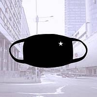 Многоразовая черная тканевая маска со звездочкой