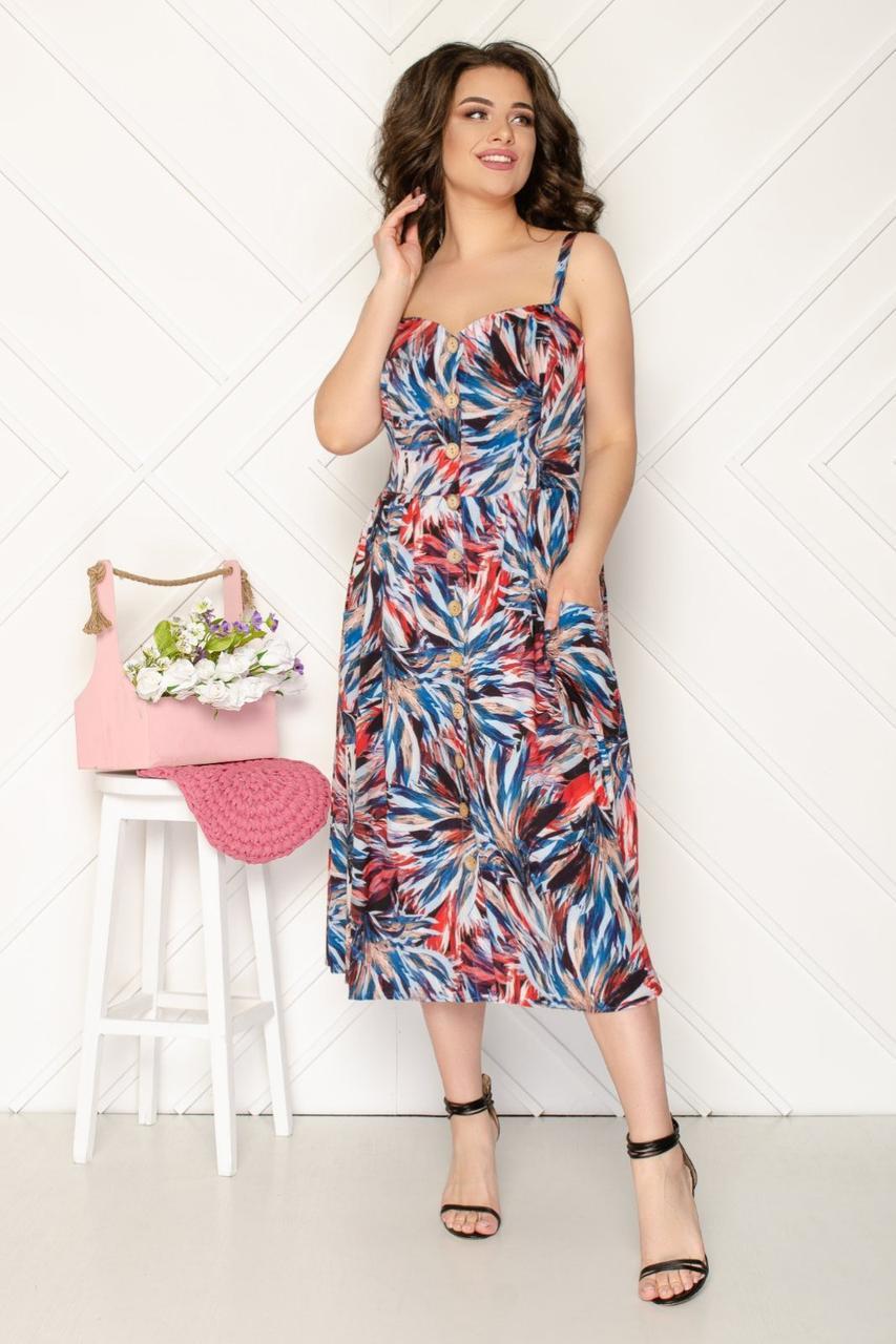 Платье на брительках легкое, модное, нарядный р,50,52,54,56