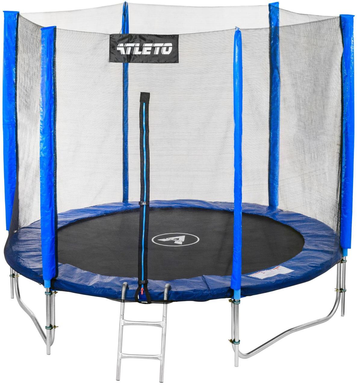 Батут диаметром 252 см с двойными ногами сеткой + лестница максимальная нагрузка 120 кг синий