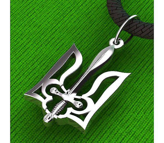 Подвеска - кулон серебряная Герб Украины s60009