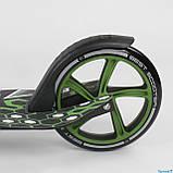 Самокат двухколесный складной с передним амортизатором Best Scooter 70875 черно-зеленый, фото 4