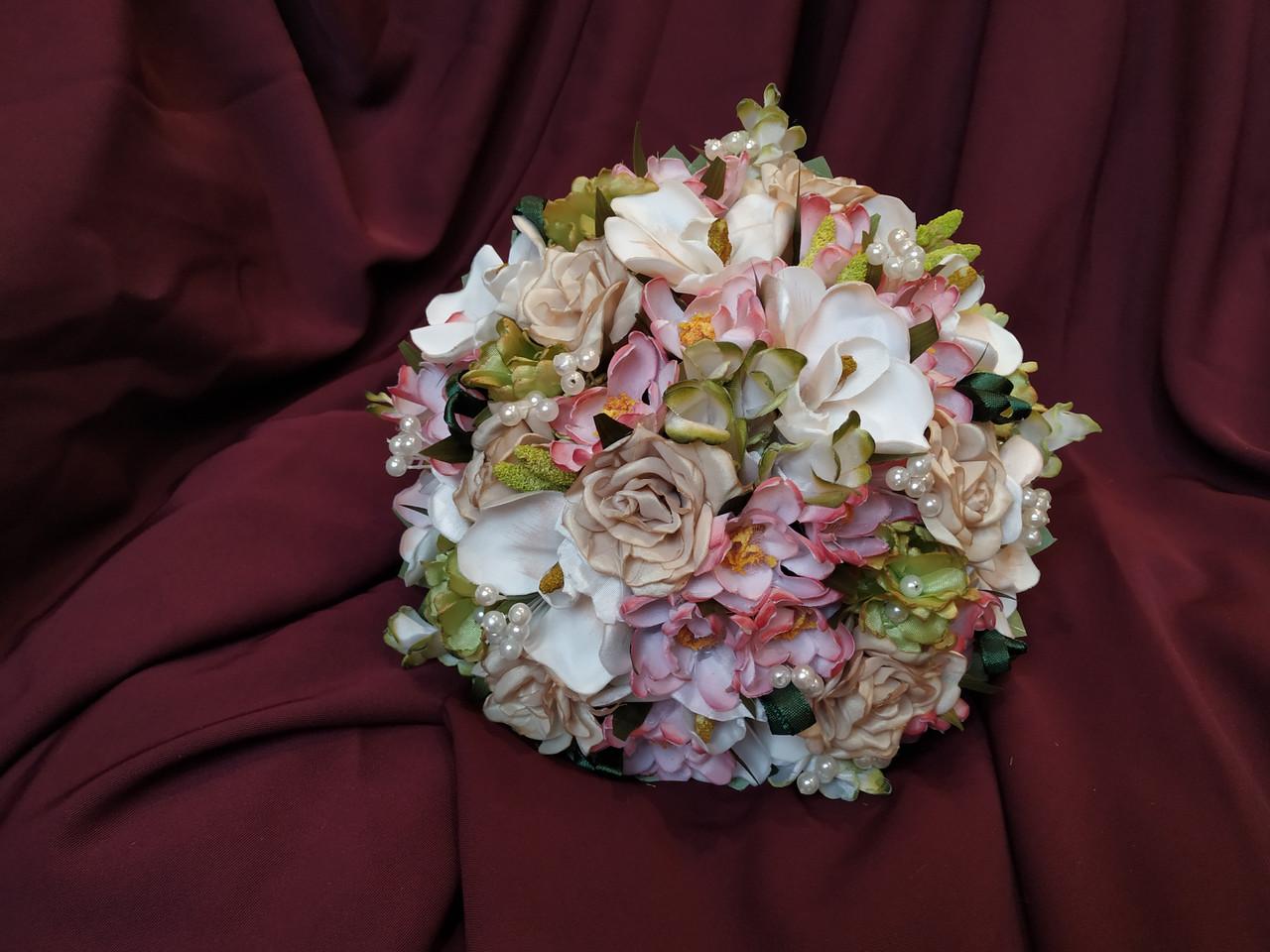 Весільний букет-дублер рожевий з пудровим і молочним