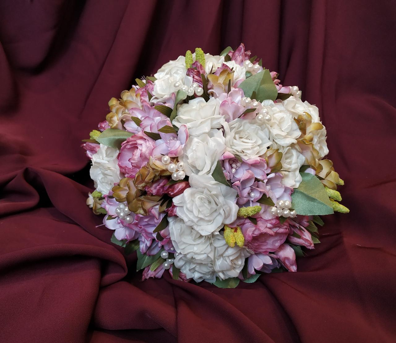 Свадебный букет-дублер для невесты розовый с молочным
