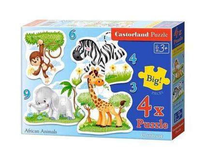 """Пазлы 4 в 1 """"Африканские животные"""" В-005017"""