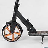 Самокат двухколесный складной с передним амортизатором Best Scooter 34750 черно-оранжевый, фото 3