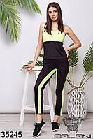 Женский спортивный костюм чёрно-зелёный (размеры 42-44, 44-46)