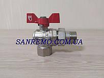 """Кран шаровый латунный угловой с американкой SD Forte 1/2"""""""