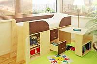 Детская кровать-чердак Карлсон Мини с выдвижным столом, фото 1