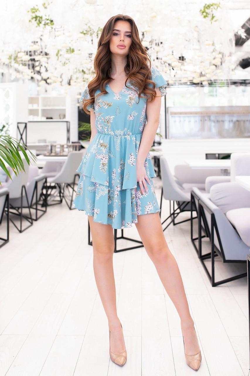 Платье с оборкой, воланами, легкое р 42,44,46,48 Голубой