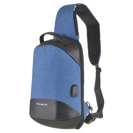 Рюкзак протикрадій однолямочный Bobby 24х33х12 блакитний, тканина поліестр ксНЛ1691гол, фото 2