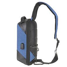 Рюкзак протикрадій однолямочный Bobby 24х33х12 блакитний, тканина поліестр ксНЛ1691гол, фото 3