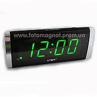 Часы сетевые VST 730-4 салатовые настольные (электронные цифровые часы)