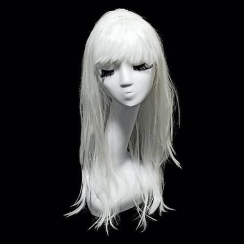 ПАРИК с белыми матовыми длинными прямыми волосами.