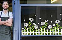 Декоративная наклейка Забор с цветами (95х50см)