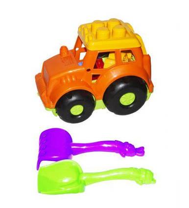 Трактор Кузнечик №1, оранжевый  с граблями и лопаткой 0206