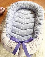 Гнездышко-кокон Tim Family Ua в фиолетовом цвете с горошками и узорами