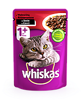 Влажный консервированный корм с Говядиной в соусе для взрослых кошек 100 г Whiskas Вискас