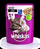 Влажный консервированный корм с Лососем в соусе для взрослых кошек 100 г Whiskas Вискас