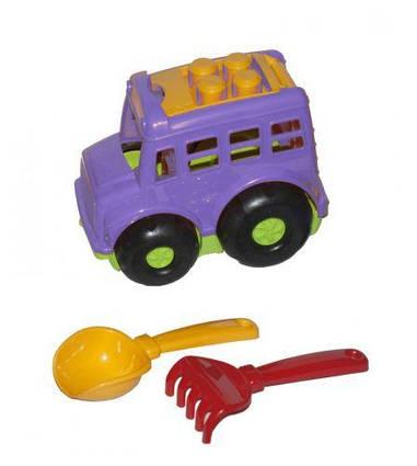 """Автобус """"Бусик №1"""" + лопатка и грабельки (фиолетовый) 0084"""