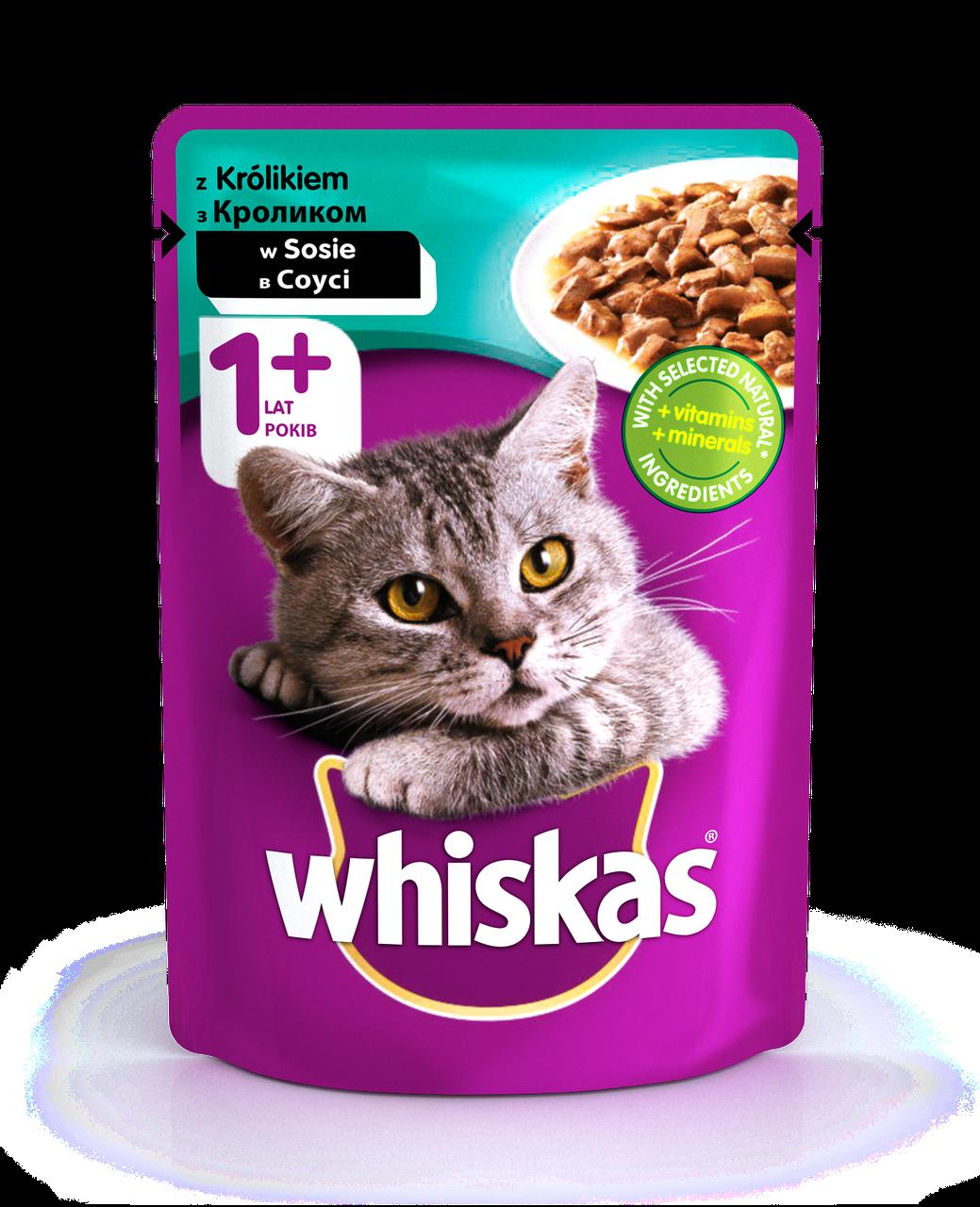 Влажный консервированный корм с Кроликом в соусе для взрослых кошек 100 г Whiskas Вискас