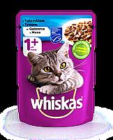 Влажный консервированный корм с Тунцом в желе для взрослых кошек 100 г Whiskas Вискас