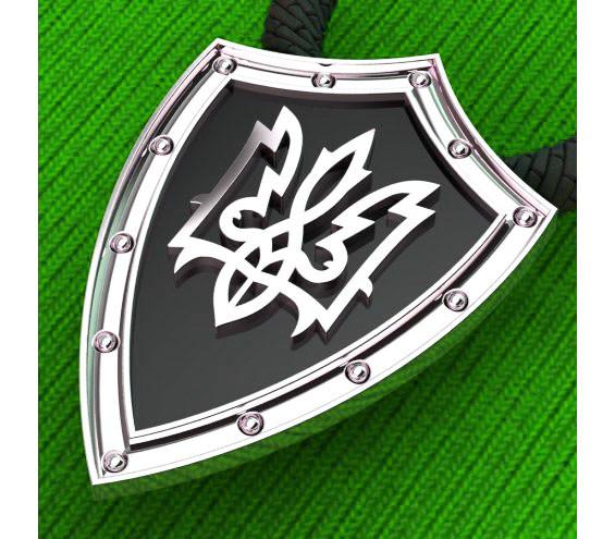 Подвеска - кулон серебряная Щит Герб Украины s60011