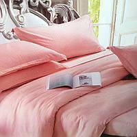 """""""Персиковый"""" Комплект постельного белья Lux евро размер 200*220,ткань страйп-сатин"""
