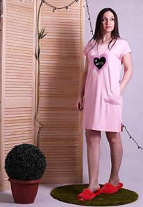 Домашнее платье-туника с карманами и нашивкой из пайеток Сердце 42-52 р