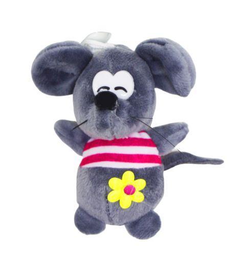 """Мягкая игрушка """"Мышка в полосатой кофточке"""" (тёмно-серая) 059075"""