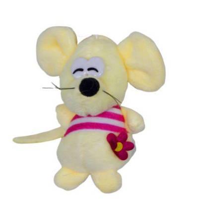 """Мягкая игрушка """"Мышка в полосатой кофточке"""" (бежевая) 059075"""