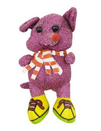 "Мягкая игрушка ""Блестящая мышка в кедах"" (малиновая) H-54"