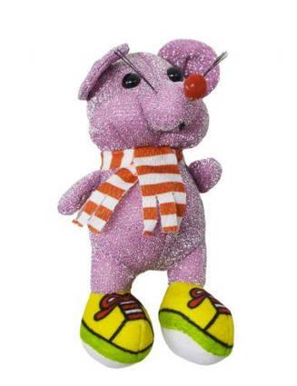 """Мягкая игрушка """"Блестящая мышка в кедах"""" (розовая) H-54"""